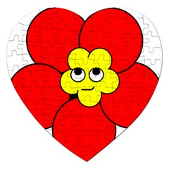 Poppy Smirk Face Flower Red Yellow Jigsaw Puzzle (heart)