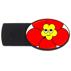 Poppy Smirk Face Flower Red Yellow Usb Flash Drive Oval (4 Gb)