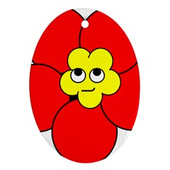 Poppy Smirk Face Flower Red Yellow Oval Ornament (two Sides) by Alisyart