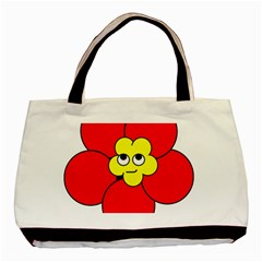 Poppy Smirk Face Flower Red Yellow Basic Tote Bag (two Sides) by Alisyart