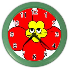 Poppy Smirk Face Flower Red Yellow Color Wall Clocks by Alisyart
