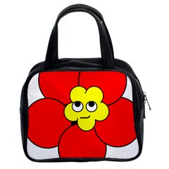 Poppy Smirk Face Flower Red Yellow Classic Handbags (2 Sides) by Alisyart