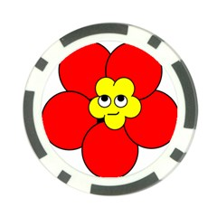 Poppy Smirk Face Flower Red Yellow Poker Chip Card Guard (10 Pack) by Alisyart