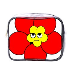 Poppy Smirk Face Flower Red Yellow Mini Toiletries Bags by Alisyart