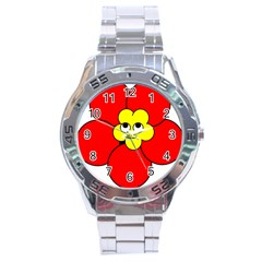 Poppy Smirk Face Flower Red Yellow Stainless Steel Analogue Watch by Alisyart