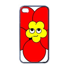 Poppy Smirk Face Flower Red Yellow Apple Iphone 4 Case (black)