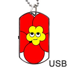 Poppy Smirk Face Flower Red Yellow Dog Tag Usb Flash (two Sides) by Alisyart
