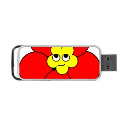 Poppy Smirk Face Flower Red Yellow Portable Usb Flash (two Sides)