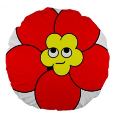 Poppy Smirk Face Flower Red Yellow Large 18  Premium Round Cushions by Alisyart