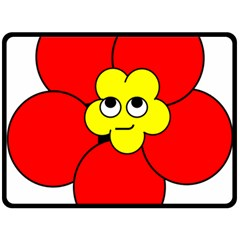 Poppy Smirk Face Flower Red Yellow Double Sided Fleece Blanket (large)  by Alisyart