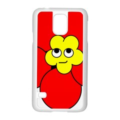 Poppy Smirk Face Flower Red Yellow Samsung Galaxy S5 Case (white)
