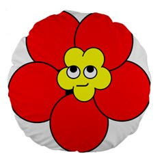 Poppy Smirk Face Flower Red Yellow Large 18  Premium Flano Round Cushions by Alisyart