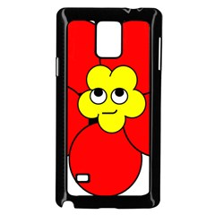 Poppy Smirk Face Flower Red Yellow Samsung Galaxy Note 4 Case (black) by Alisyart