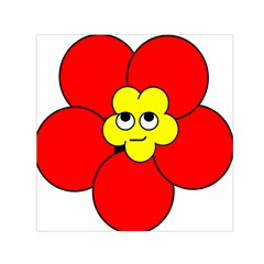 Poppy Smirk Face Flower Red Yellow Small Satin Scarf (square)