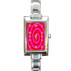 Pink Hypnotic Background Rectangle Italian Charm Watch by Simbadda