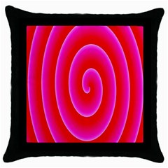 Pink Hypnotic Background Throw Pillow Case (black) by Simbadda