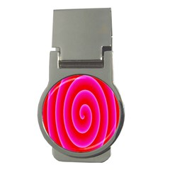 Pink Hypnotic Background Money Clips (round)  by Simbadda
