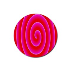 Pink Hypnotic Background Rubber Round Coaster (4 Pack)  by Simbadda