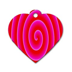 Pink Hypnotic Background Dog Tag Heart (two Sides) by Simbadda