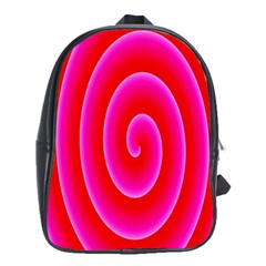Pink Hypnotic Background School Bags (xl)  by Simbadda