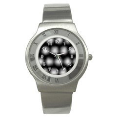 Black And White Modern Wallpaper Stainless Steel Watch by Simbadda