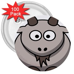 Goat Sheep Animals Baby Head Small Kid Girl Faces Face 3  Buttons (100 Pack)  by Alisyart