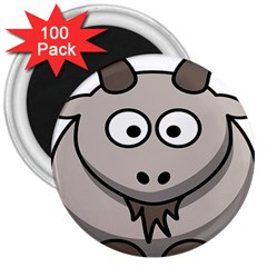 Goat Sheep Animals Baby Head Small Kid Girl Faces Face 3  Magnets (100 Pack)