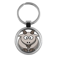 Goat Sheep Animals Baby Head Small Kid Girl Faces Face Key Chains (round)