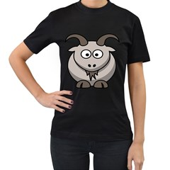Goat Sheep Animals Baby Head Small Kid Girl Faces Face Women s T Shirt (black) (two Sided) by Alisyart