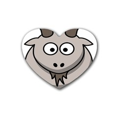 Goat Sheep Animals Baby Head Small Kid Girl Faces Face Rubber Coaster (heart)  by Alisyart