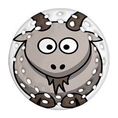 Goat Sheep Animals Baby Head Small Kid Girl Faces Face Round Filigree Ornament (two Sides) by Alisyart