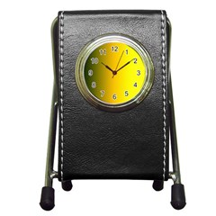 Yellow Gradient Background Pen Holder Desk Clocks by Simbadda