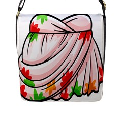 Petal Pattern Dress Flower Flap Messenger Bag (l)