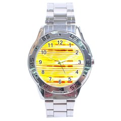 Yellow Curves Background Stainless Steel Analogue Watch by Simbadda