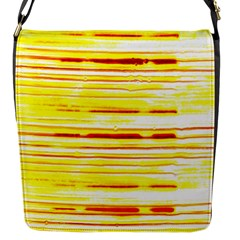 Yellow Curves Background Flap Messenger Bag (s) by Simbadda