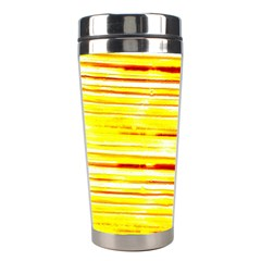 Yellow Curves Background Stainless Steel Travel Tumblers by Simbadda