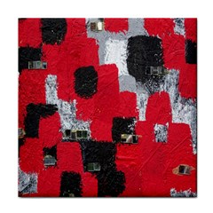Red Black Gray Background Tile Coasters