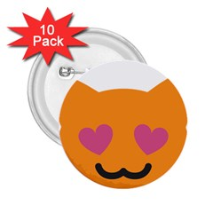 Smile Face Cat Orange Heart Love Emoji 2 25  Buttons (10 Pack)  by Alisyart