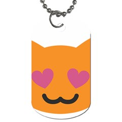 Smile Face Cat Orange Heart Love Emoji Dog Tag (two Sides) by Alisyart