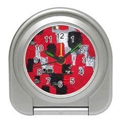 Red Black Gray Background Travel Alarm Clocks by Simbadda