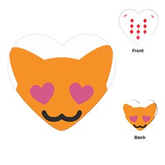 Smile Face Cat Orange Heart Love Emoji Playing Cards (heart)