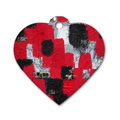 Red Black Gray Background Dog Tag Heart (one Side) by Simbadda