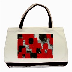 Red Black Gray Background Basic Tote Bag (two Sides) by Simbadda