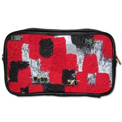 Red Black Gray Background Toiletries Bags