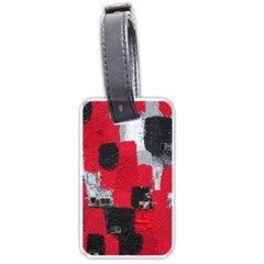 Red Black Gray Background Luggage Tags (two Sides)