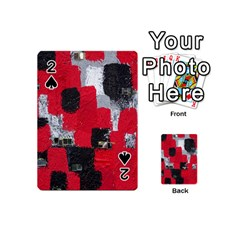 Red Black Gray Background Playing Cards 54 (mini)  by Simbadda