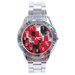 Red Black Gray Background Stainless Steel Analogue Watch by Simbadda
