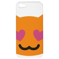 Smile Face Cat Orange Heart Love Emoji Apple Iphone 5 Hardshell Case by Alisyart
