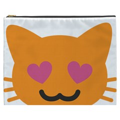 Smile Face Cat Orange Heart Love Emoji Cosmetic Bag (xxxl)