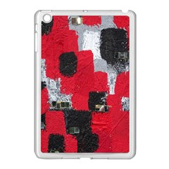 Red Black Gray Background Apple Ipad Mini Case (white) by Simbadda